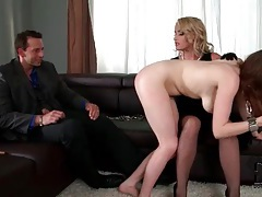 Spanked girl gets on her knees and sucks a dick tubes