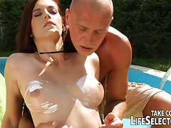 Anal interactive at the swimming pool tubes