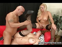 Big boobs milf sluts fucked in threesome tubes