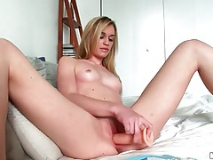 Rubber cock fucks a small breasted blonde beauty tubes