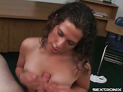 Curly hair girl gives a hot titjob in pov tubes