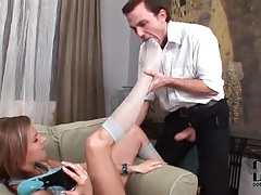 He worships stocking clad feet of hot chick tubes