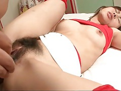 Hairy young twat of japanese slut filled with cock tubes