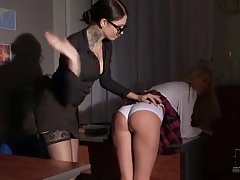 Schoolgirl over the knee of mistress and spanked tube