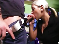 Sexy tits on blonde sucking dick in kitchen tubes