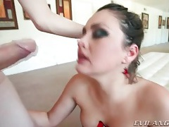 Beautiful allie haze sucks big cock in corset tubes