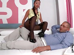 Asian in black pantyhose gives footjob tubes