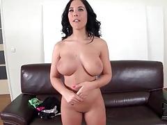 Cute naked girl has gorgeous big round boobs tubes