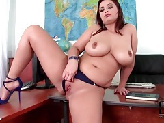 Secretary with big tits is naked and fondling tubes