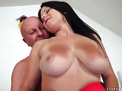 Grandpa fondles busty brunette with sexy tits tubes