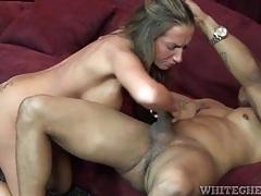 Slut blows big black cock and bends over tubes