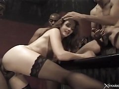 Sexy girl interracially gangbanged in a bar tubes