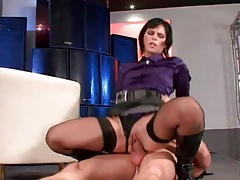 He cums hard on her purple satin blouse tubes