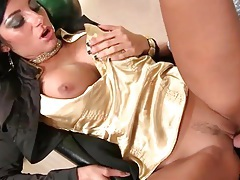 Slut in gold satin blouse fucked in bowling alley tubes