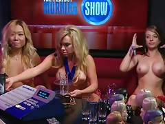 Red lingerie girl gets naked on the radio show tubes