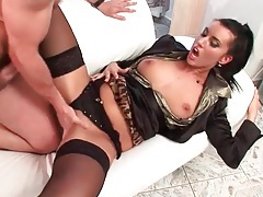Bouncing tits on panties slut balled in cunt tubes