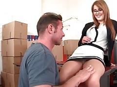 Sexy slut in glasses sucks dick in office tubes