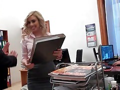 Blown at work by babe in blouse and skirt tubes