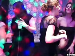 Beautiful euro women fucking and sucking at party tubes