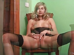 Teasing in her black stockings solo tubes