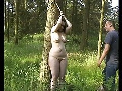 Fat girl tied in the woods likes great pain tubes