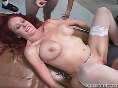 Mommy takes cocks in an interracial gangbang tubes