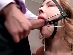 Pretty girl cuffed and sucking on a cock tubes