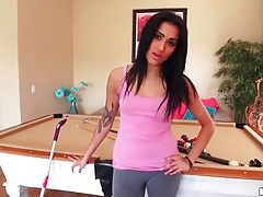 Chick in skintight pants cleans the house tubes