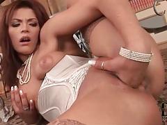 Tight lingerie on horny girl finger fucking pussy tubes