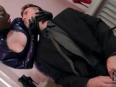 Sexy servant in tight latex sucks his dick tubes