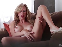 Big tits blonde beauty in lace panties tubes