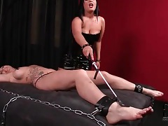 Busty brunette girl is bound and flogged by mistress tubes