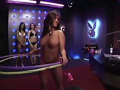 Topless girls hula hoop and look super hot tubes