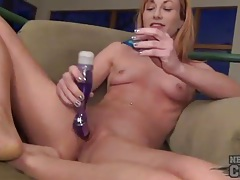 Amateur smiles and masturbates her clit tubes