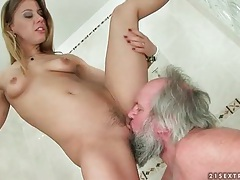Old man licks dominant young pussy in shower tubes