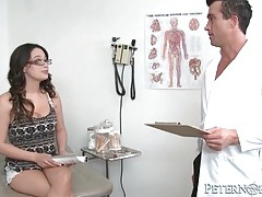 Horny doctor blown by naughty patient in office tubes