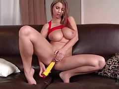 Corn dildo pleasures pussy of big boobs babe tubes