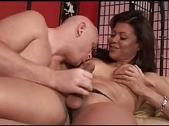 Sucking sexy cock of shemale milf in boots tubes