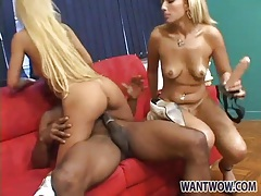 Blonde chicks hook up with black guy for a fuck tubes