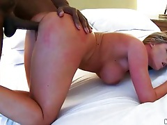 Long thick black dick fucks white slut with curves tubes