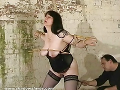Chubby girl in sexy lingerie and painful bondage tubes
