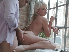Beautiful blue eyed girl blows him and fucks tubes