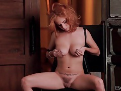 Redhead finger fucks and fondles her tits tubes