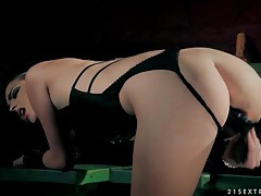 Dildo play with sexy chick in leather lingerie tubes