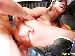 Food truck slut with fake tits fucked anally tubes