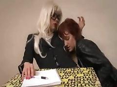 Femdom teacher has her lesbian student get her off tubes