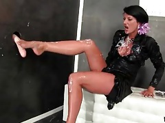 Thick fake cum squirts on brunette in satin blouse tubes