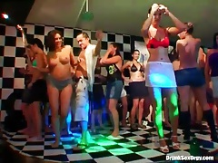 Girls dancing around the people fucking on the floor tubes