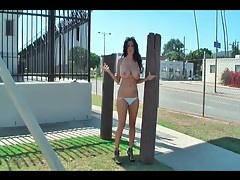 Busty babe ava addams models her body in public tubes