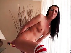 Teenager with long dark hair anal toy play tubes